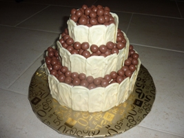White Chocolate covered, Malteser Chocolate Cake
