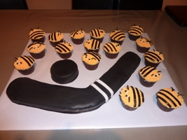 Hockey Cake and Bumble Bee Cup Cakes